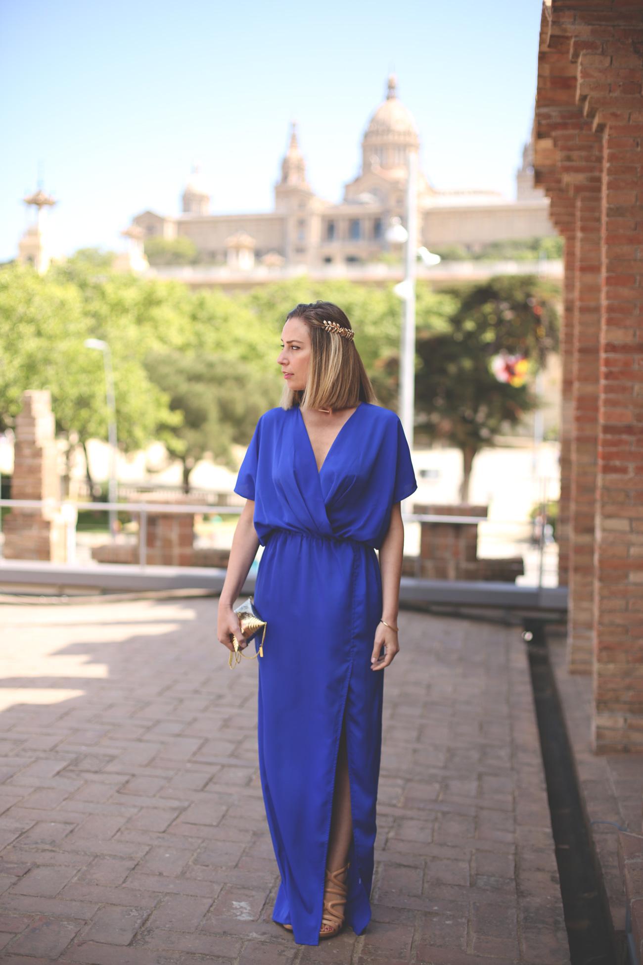 wedding look, vestido azul klein, swarovski, fashion blogger, blonde girl, vestido para ir a una boda, como ir a una boda, accesorios únicos, virgos lounge,