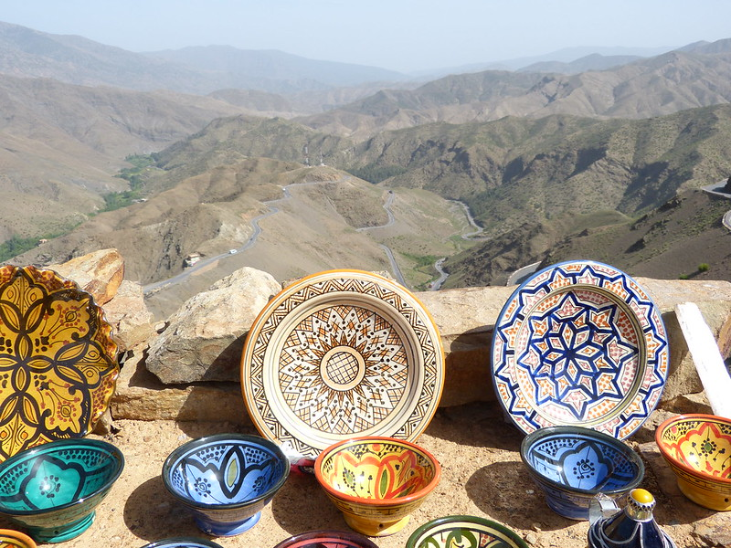 Selling ceramics in the Atlas Mountains