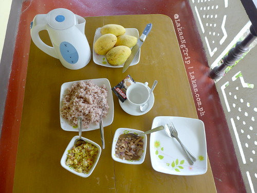 Mangoes, red rice, coffee, sauteed canned tuna, scrambled eggs with onion and tomato and instant coffee. DDD Habitat Inc. in Lorega, Kitaotao, Bukidnon
