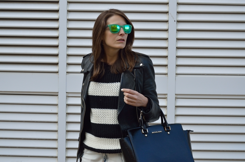 lara-vazquez-madlula-blog-pop-of-green-stripes-black-white-attire