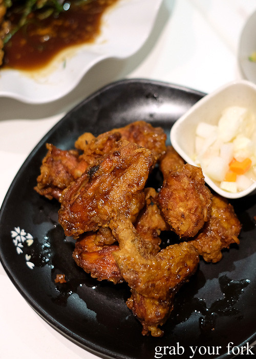 Soy sauce and garlic Korean fried chicken at The Sparrow's Mill, Sydney