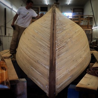 Strip-planked construction in progress at #brooklinboatyard #brooklin #maine #sailboat #boats
