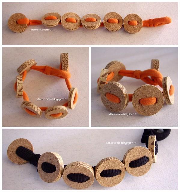 Collage bracciali T-shirt+sughero arancione e nero