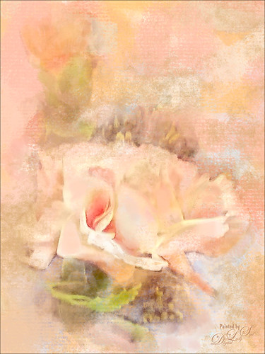 Painted image of pink roses