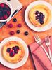 Raspberry tart and bluberry tart