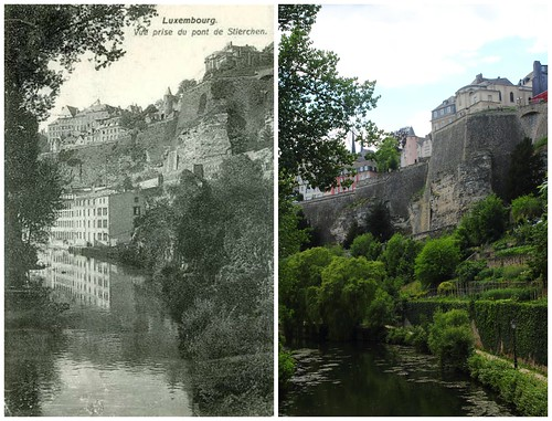 View from Stierchen Bridge, Luxembourg, then and now