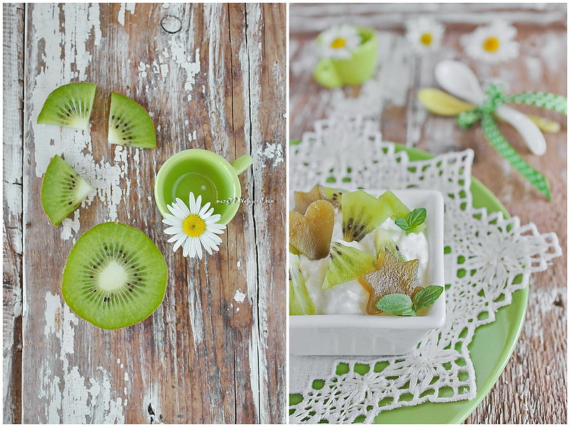 ...ricotta kiwi and green jelly collage