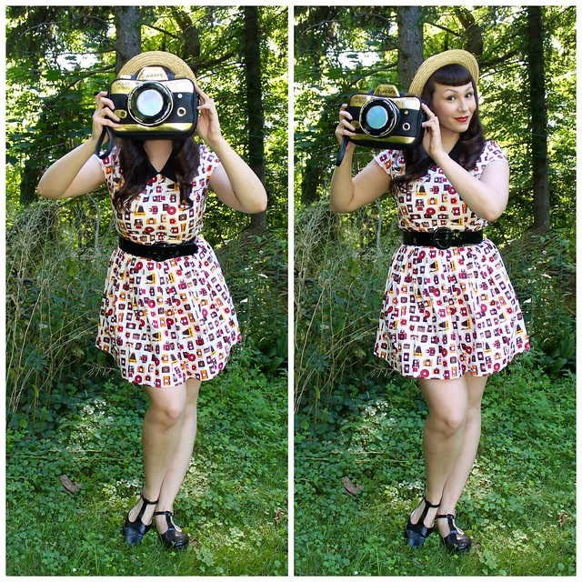 camera print dress and camera bag