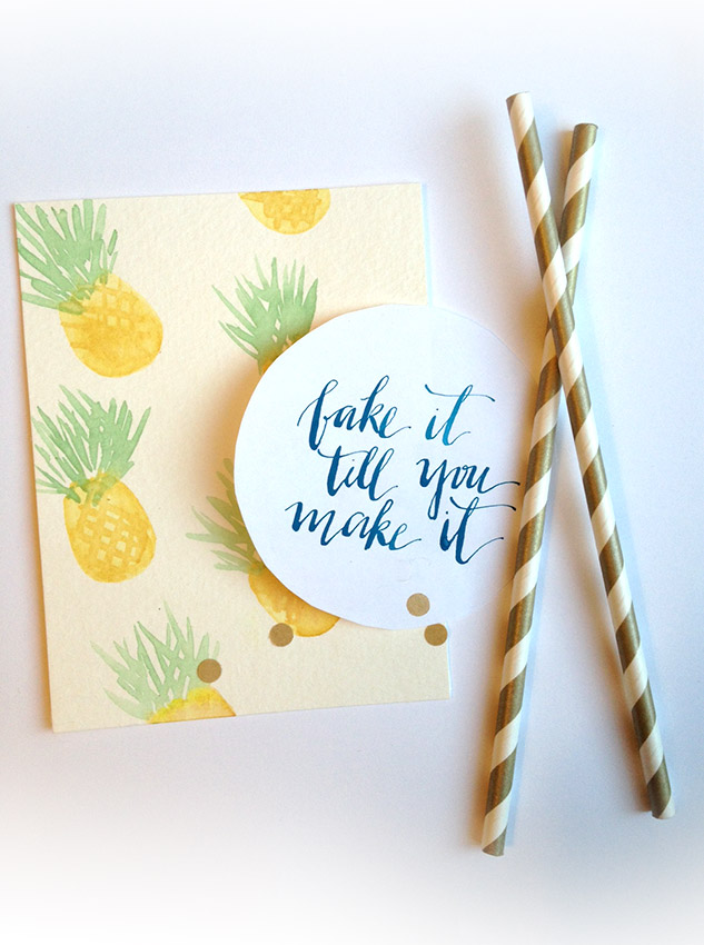 fake it till you make it, watercolor pineapples, hunt 103 nib calligraphy, how to mix gouache