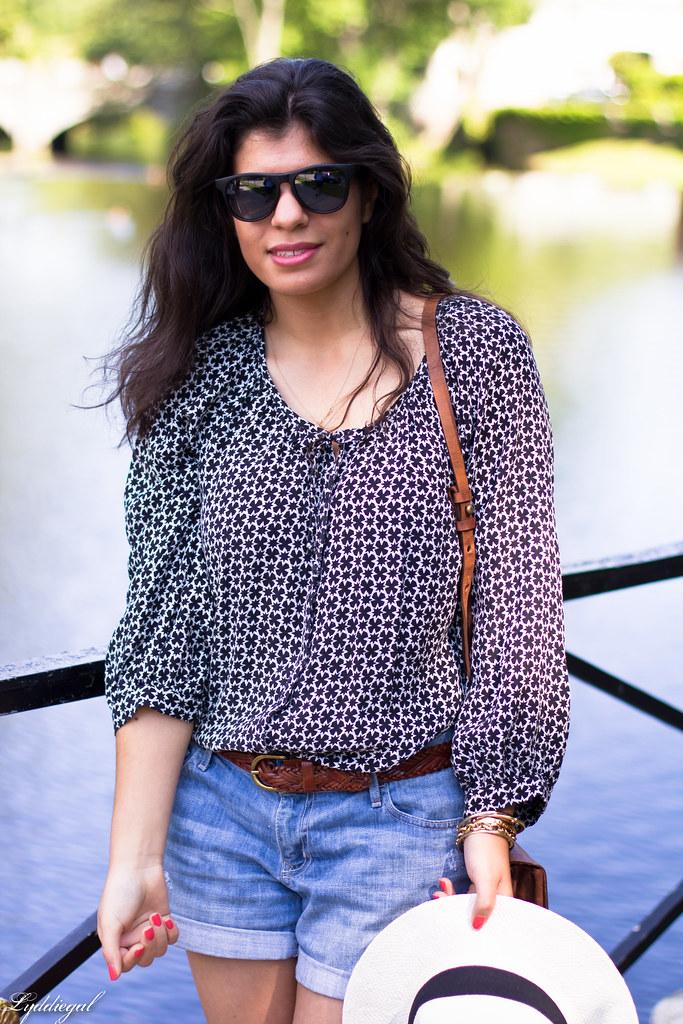 denim shorts, bohemian blouse, trask bag-6.jpg
