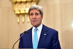 U.S. Secretary of State John Kerry addresses reporters at the Presidential Palace in Cairo, Egypt, on July 22, 2014, amid a series of discussions with Egyptian leaders focused on creating a ceasefire for fighting between Israel and Hamas in the Gaza Strip. [State Department photo/ Public Domain]
