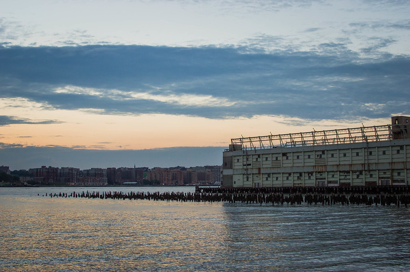 Sunset over Hudson River at Chelsea Piers in New York City
