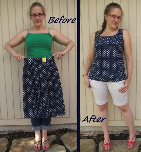Navy Polka Dot Top - Before & After