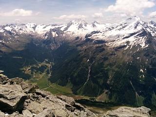 Gipfel Großer Moosstock, Blick ins Tal