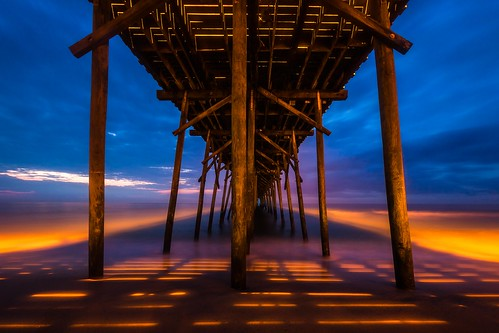 ocean longexposure blue water colors sunrise gold dawn pier waves northcarolina atlanticocean kurebeach canon5dmarkii world4photos
