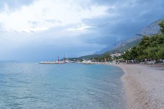 Image of Najbolja plaza ispod Biokova Beach with pebbles. blue sea cloud beach croatia adriatic tučepi