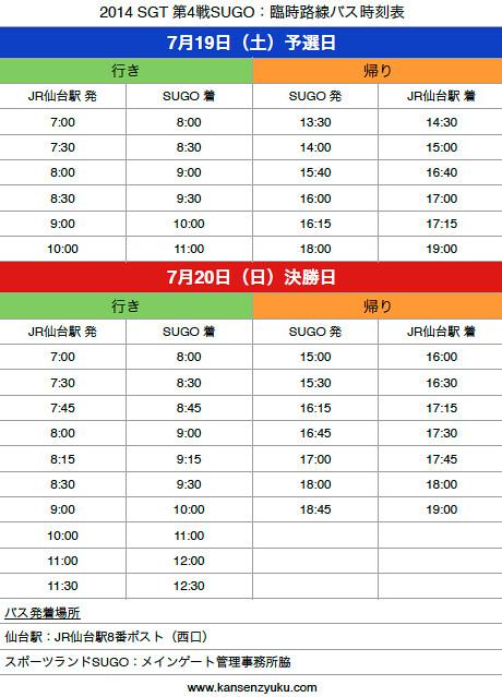 2014SGT第4戦SUGO:臨時路線バス時刻表