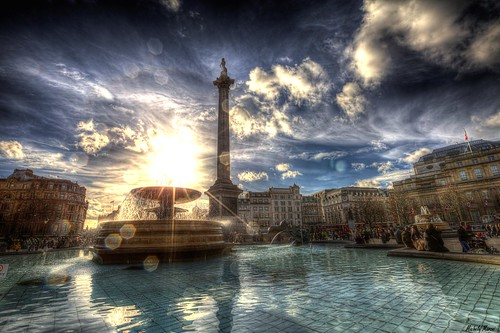 sunset london trafalgarsquare hdr