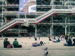 Sitting outside the Centre Pompidou
