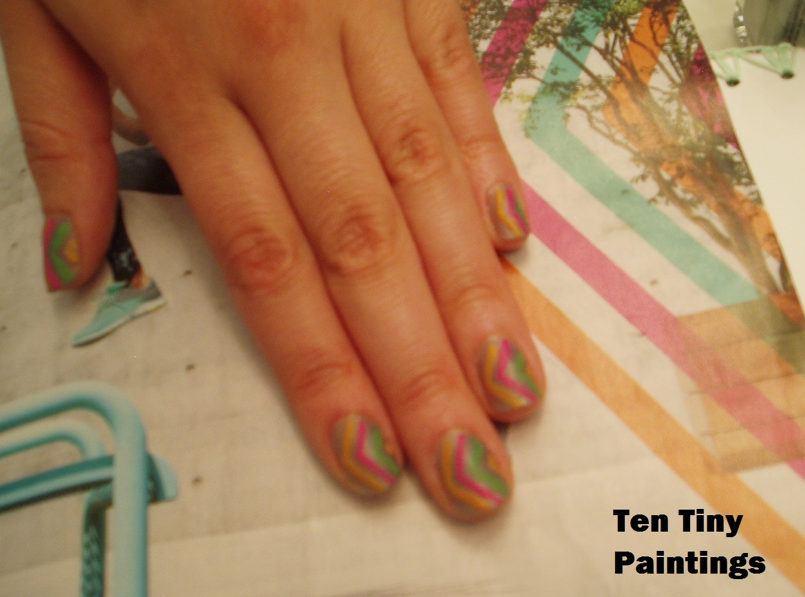 Colorful Chevron nail art design inspired by C9 by Champion ad in SELF magazine 2