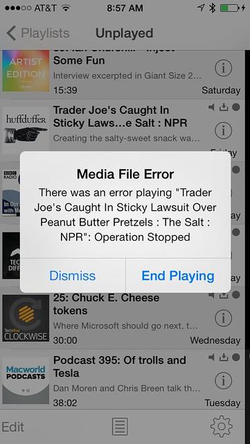 Downcast media file error