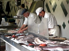 fish, fish, cook, food, butcher, person,