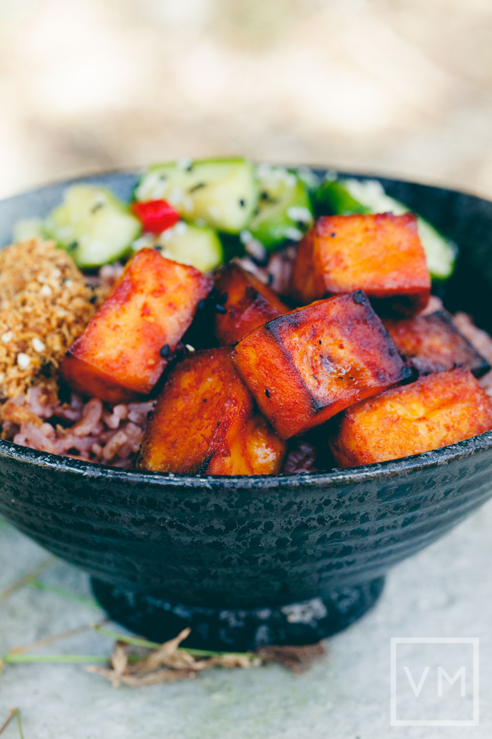 Vegan Gochujang Tofu and Pickled Cucumber Bowl