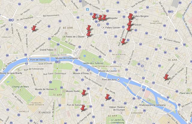 Mapa Paris Compras