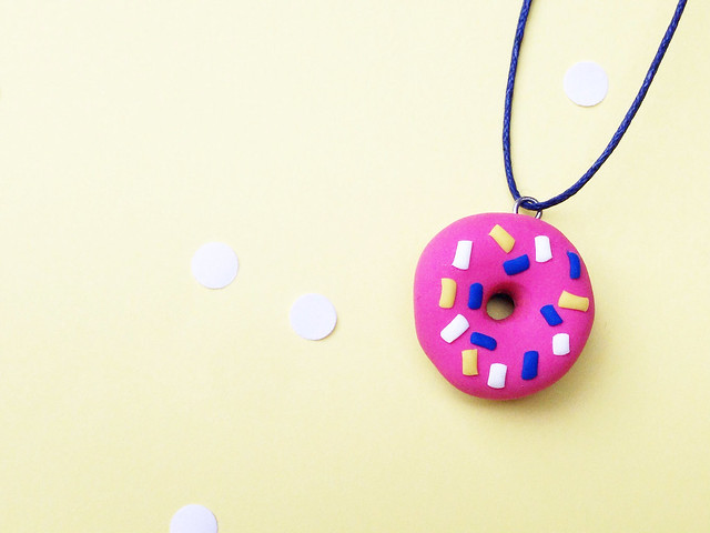 polymer clay donut charm 12