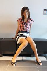 Check ruffle blouse and Marine miniskirt_2