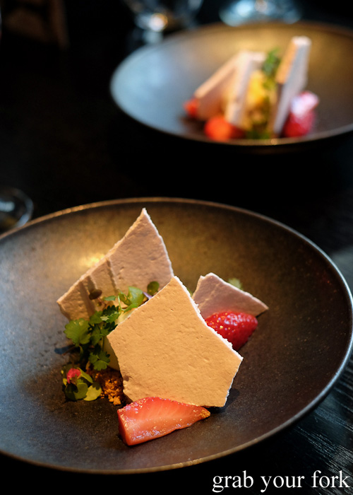 Strawberry meringue dessert with sheeps milk burnt butter sorbet at Sokyo at The Star, Pyrmont