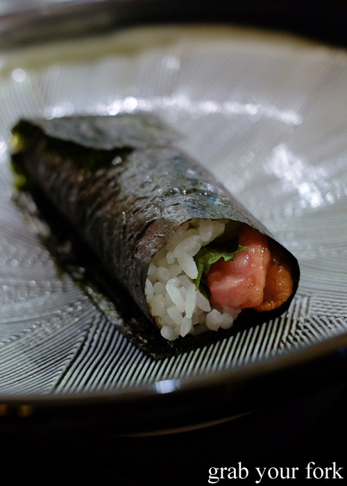 Chu-toro and sea urchin roe hand roll at Sokyo at The Star, Pyrmont
