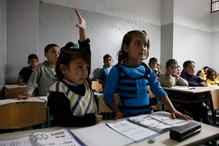 Syrian refugee children in a Lebanese school classroom