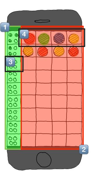 Mastermind board Sketch with zones