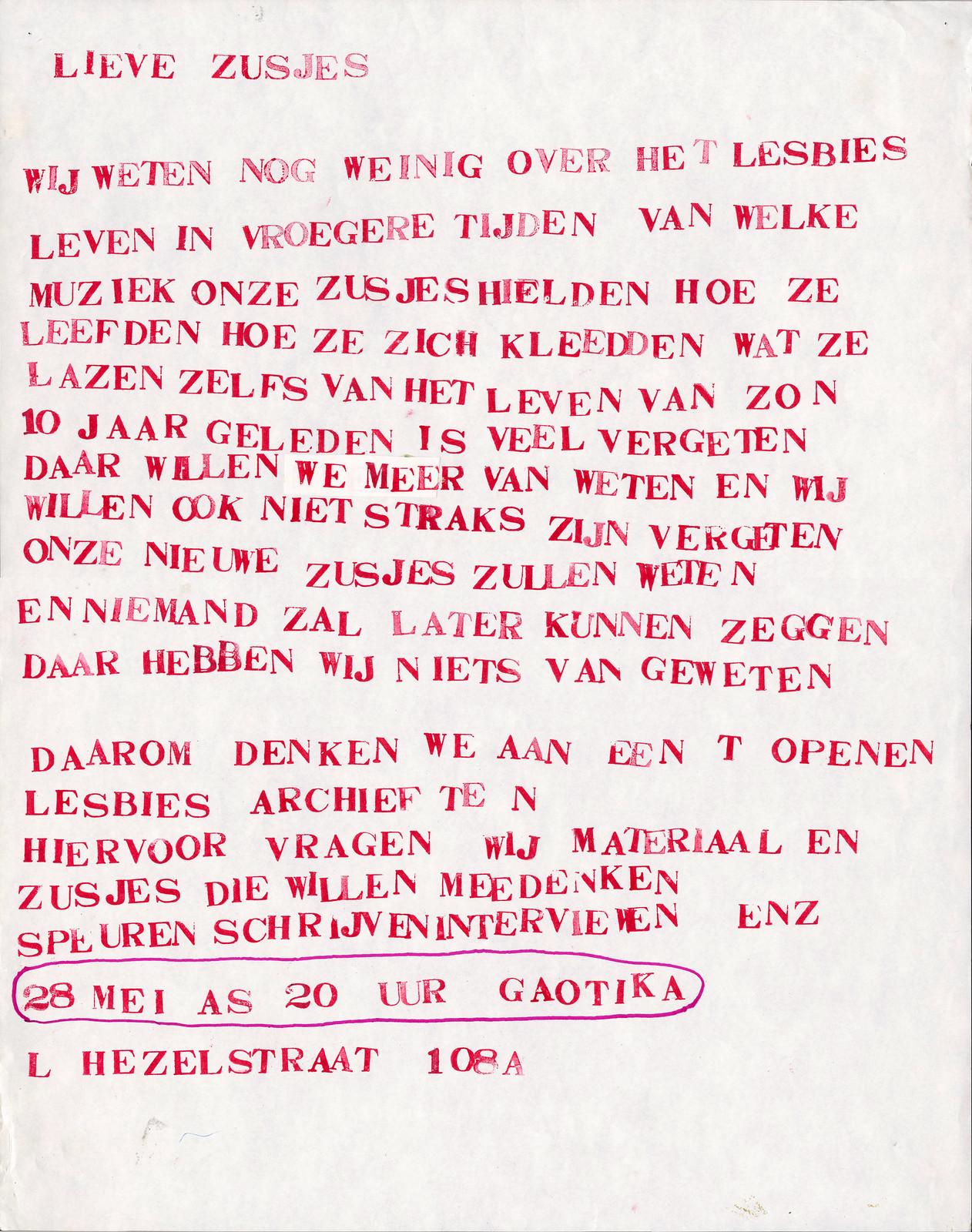 1982 Lesbisch Archief Nijmegen oprichting