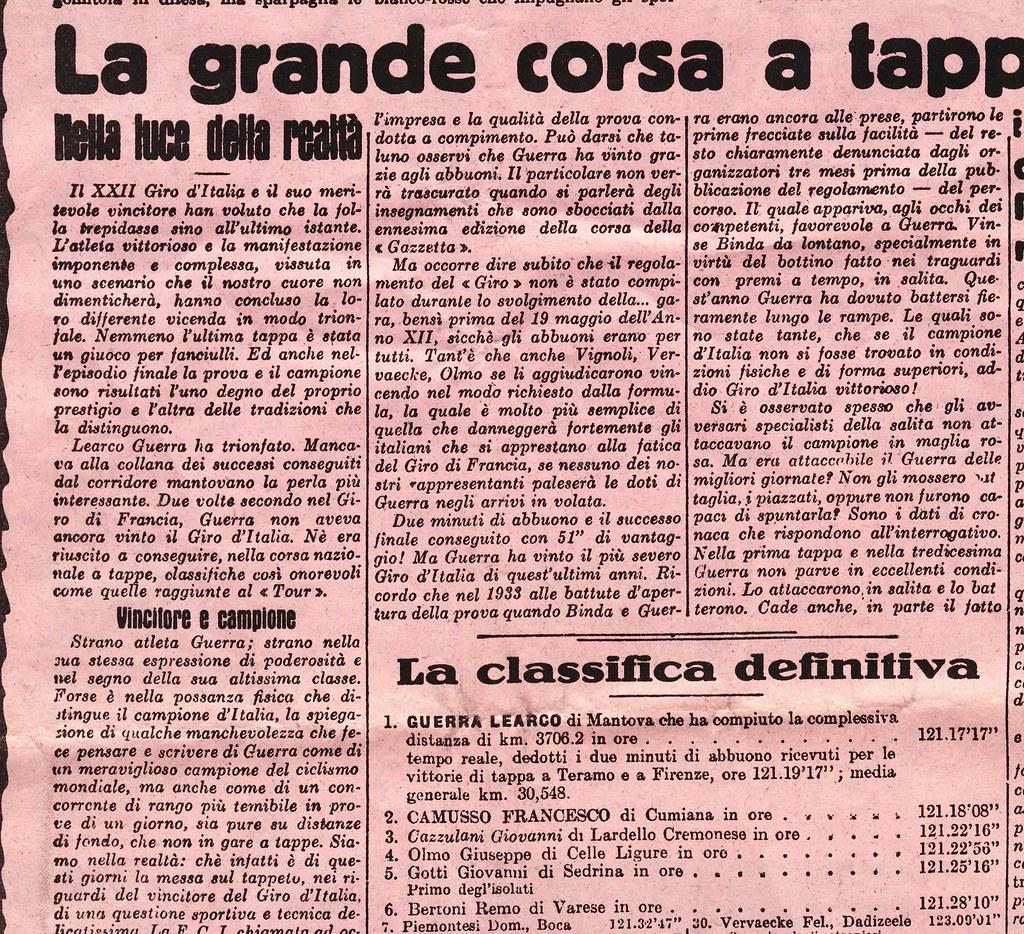 la classifica finale del Giro '34 (articolo Gazzetta)
