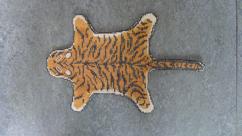 Tiger skin rug carpet cross stitch embroidered by me dollhouse miniatures 1:12