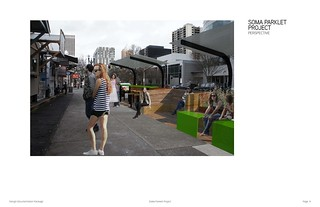SoMa Ecodistrict public seating, SW 4th Ave, between College and Hall, 2014