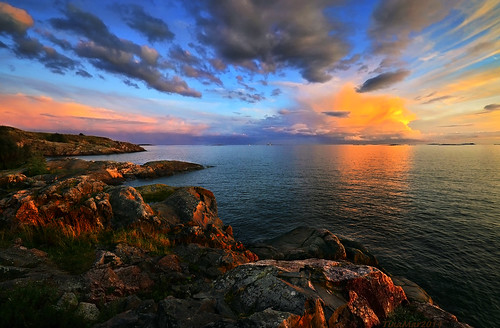 light sunset sea summer sky cloud seascape color reflection clouds finland skyscape landscape golden helsinki rocks colorful horizon seashore winnerabsolutelyextraordinaryhighend