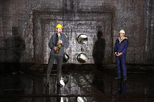 Playing Saxophone in Invergordon (Inchindown) oil tanks