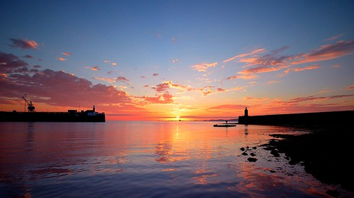 sea sky lighthouse clouds sunrise islands colours harbour guernsey