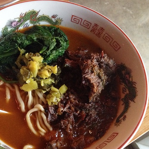 Niu rou mian with house-made noodles from #honeybadgerrestautant. #latergram