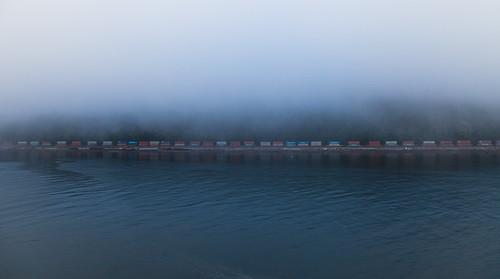 fog train wagon day surreal railway endless freighttrain nobeginningnoend