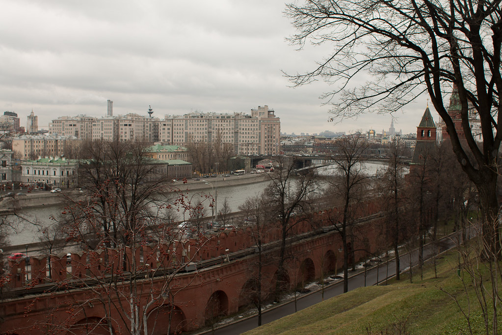 Kremlin walls and River in Moscow