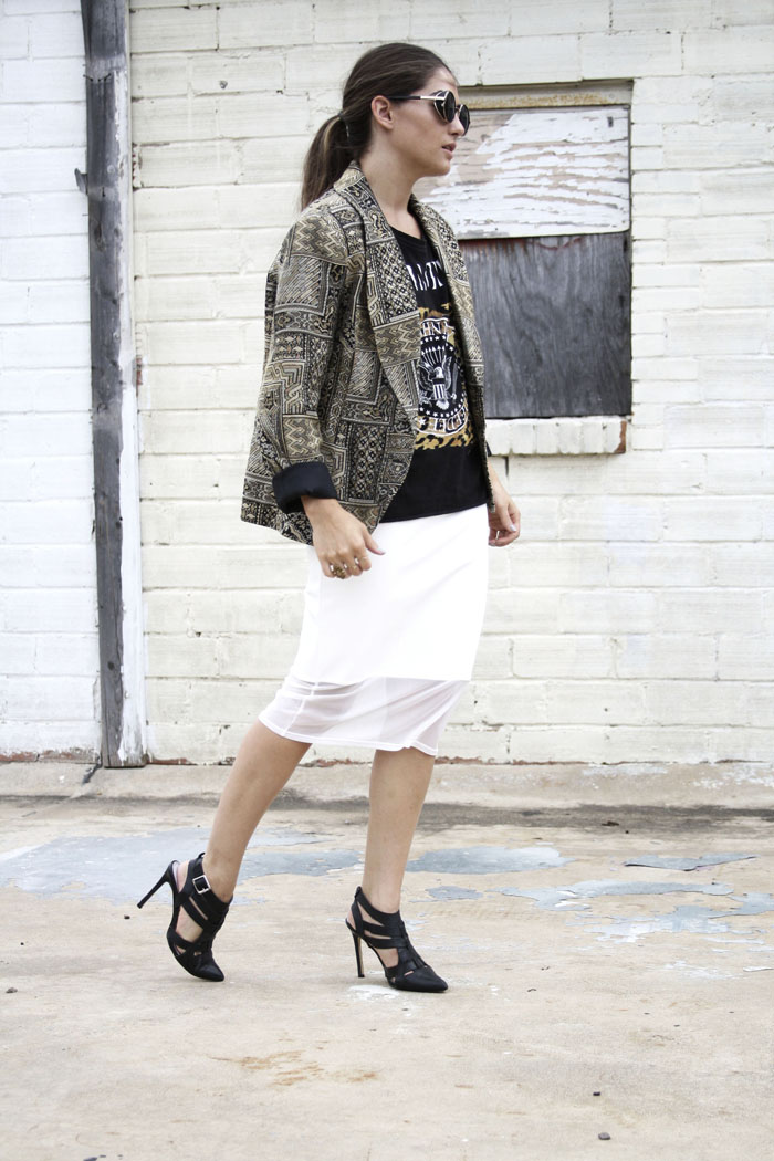 Fringe of the Cro | Modern Work Style outfits with statement blazer, band tee, white leather skirt, and heels