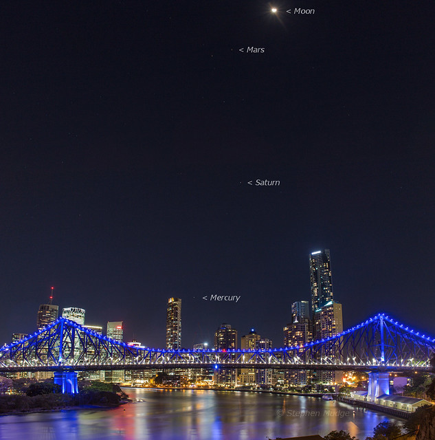 Moon and 3 planets over Brisbane