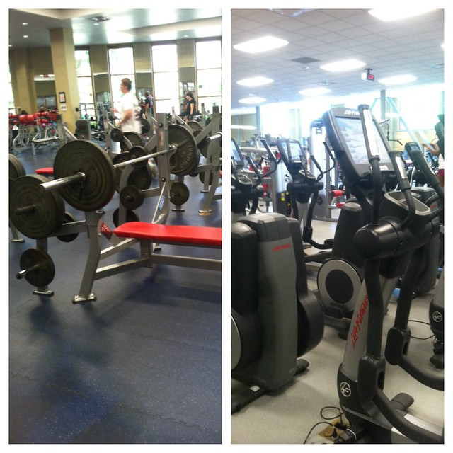 "Week 7 photo mission. This UGA's Gym Ramsey. On the left is known as the ""guys"" gym since it provides mainly free weights with some machines, while the right is known as the ""girls"" gym with its many treadmills and machine based weights."