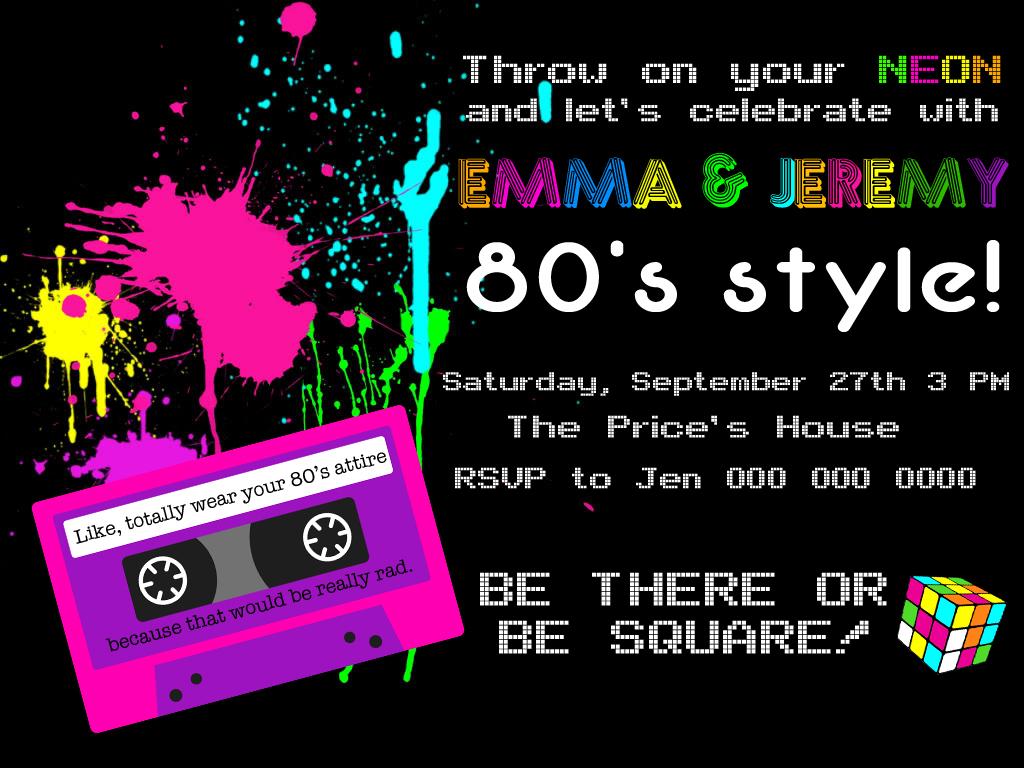 80'sBdayInvite