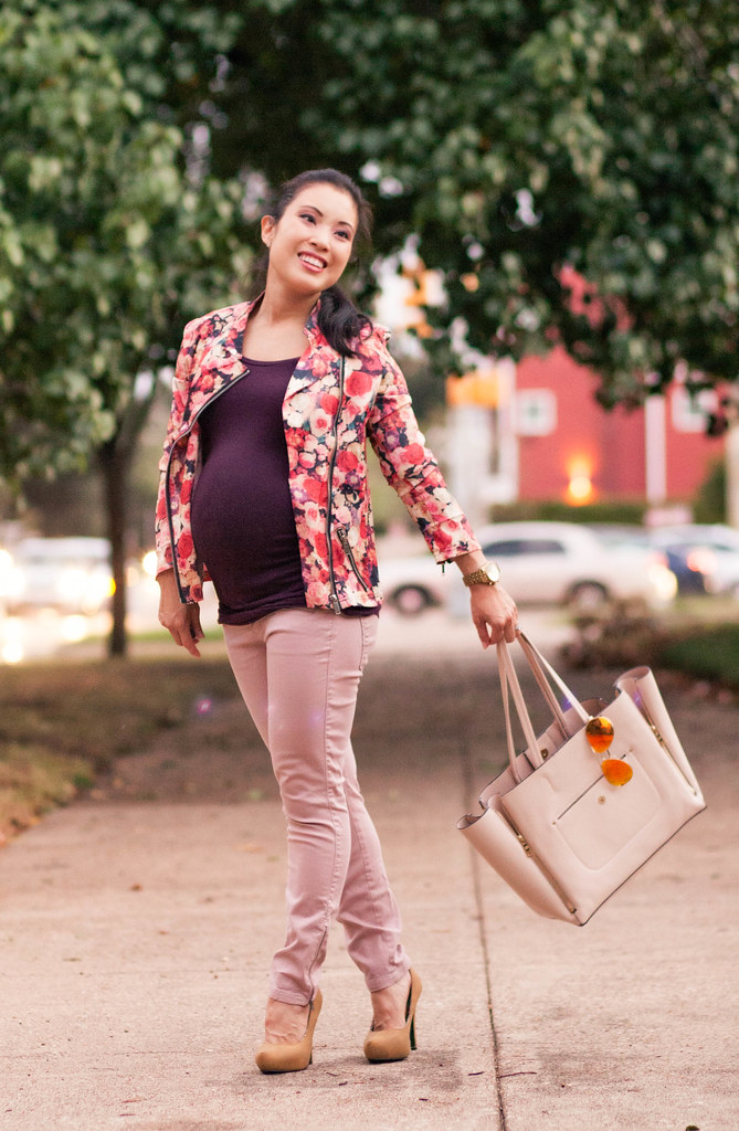cute & little blog | petite fashion | maternity pregnant baby bump | choies floral moto jacket, pink moto pants, oakley mirrored aviators | second trimester 23 weeks