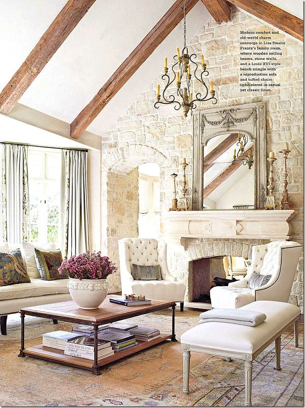 Things that inspire finally finishing the living room decor for French country stone fireplace